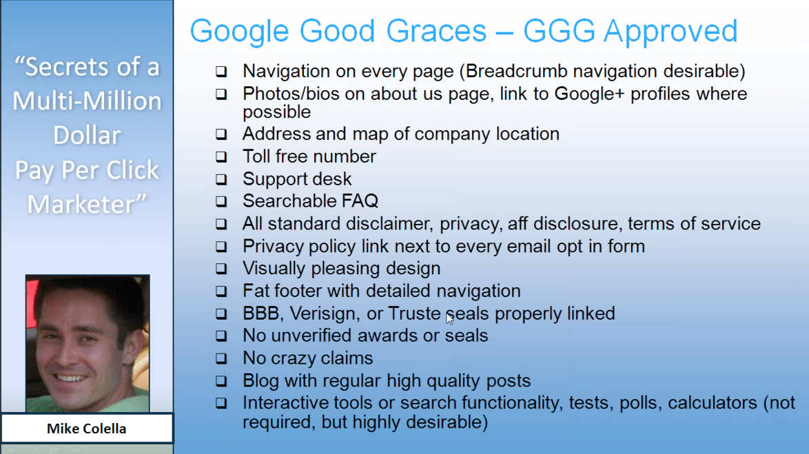 Quality Score - 15 cosas que google like - Mike Colella